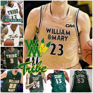 Custom 2020 William & Mary Tribe Basketball Jersey NCAA College Nathan Knight Andy Van Vliet Luke Loewe Bryce Barnes Thornton Scott