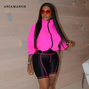 ANJAMANOR Sexy Two Piece Set Hoodie Top Biker Shorts Streetwear Casual Tracksuit Women Sports Suit Plus Size Outfits D37-421