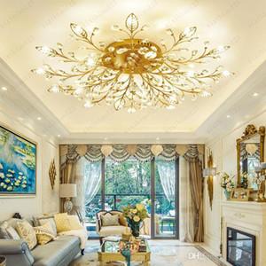 Modern K9 Crystal LED Flush Mount Ceiling Chandelier Lights Fixture Gold Black Home Lamps for Bedroom Kitchen Living Room Free shipping