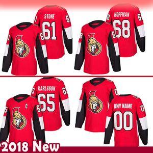 mens Ottawa Senators 61 Mark Stone Hockey maglie 65 Erik Karlsso 68 Mike Hoffman Jersey