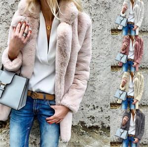 Новая мода Женской теплой зимы Женщины дизайнер пальто Розовый Белый искусственный мех Теплого Parka Женщина Мода Скидка Одежда