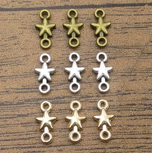 Little Star Connector Charms 50PCS Lot 15*7mm Alloy Charms Findings Bracelets Charm Pendants 3 Colors Available-WY1019