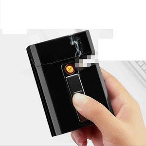 Newest USB Electronic Cigarette Case Box Storage With Lighter 20pcs Cigarettes Holde Charging Gadgets 8 Color Magnet Switch