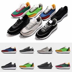 2019 Sacai Caja abierta la galleta para hombre de los zapatos corrientes de diseñador de las mujeres zapatillas de deporte de pino verde Gusto Varsity Blues Des Chaussures Schuhe Zapatos
