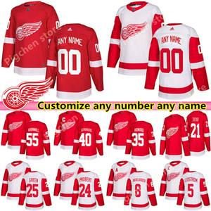 herhangi bir ad hokey forması Özel Detroit Red Wings formaları 13 Pavel Datsyuk 19 Steve Yzerman 71 Dylan Larkin Probert özel herhangi bir sayı