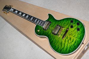 Fábrica Personalizado Verde corpo Tigre Chama Maple Folheado Guitarra Elétrica com hardware Dourado, ponte Fixa, corpo de ligação, pode ser personalizado