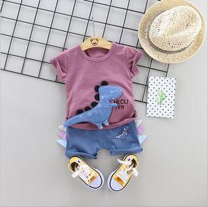 2020 Summer Toddler Infant Clothing Sets Baby Girls Boys Clothes Suits Dinosaur T Shirt Shorts Kids Children Costume 2pcs set CX200624