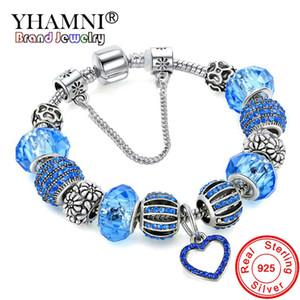 YHAMNI Original solide 925 argent Blue Charm Bracelet Bracelet avec amour et fleur Cristal Perles Sécurité Chaîne Bracelet Pour Femmes HB00156