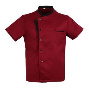 Unisex Chef Jacket Coat Short Sleeves Shirt Hotel Kitchen Uniform Red XL