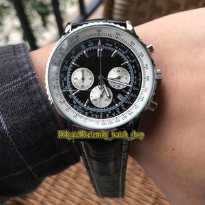 Alta qualità Luxry New AB012012 | BB01 | 435X | A20BA.1 quadrante nero cinturino in pelle Giappone OS Quarzo Cronografo Caso Movimento Mens Watch Silvery