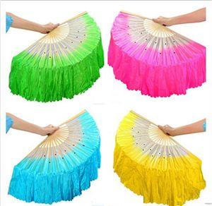 Hot festivo chinês fã de dança de seda fãs artesanais adereços de dança do ventre 5 cores