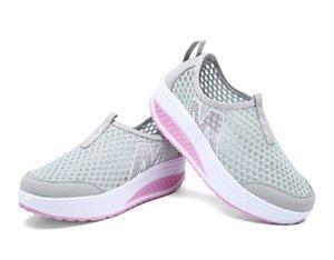 2018 весна лето обувь женщина дышащего Air Mesh Flat платформа Женская обувь скользит по Мокасинам Женских качелей клиньев Дама обуви