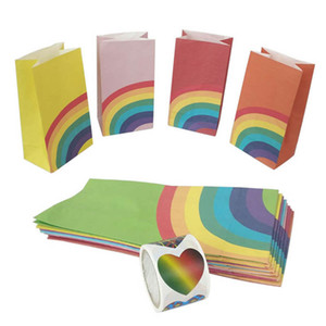 40Pcs set Oil Proof Bags Wrapping Supplies Grade Square Bottom Rainbow Design Gift Packing with sealing sticker