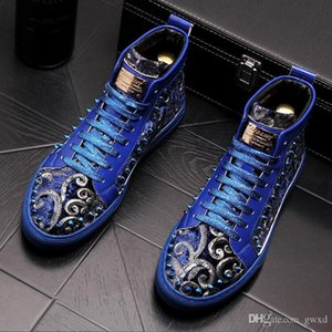 Fashion Black blue Cow Leather Rivets Men Velvet Loafers High-Top Fashion Spike Sneakers Shoes Outdoors Flats Casuals boots W146