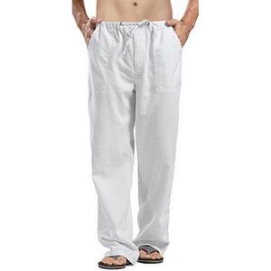 سروال CYSINCOS الرجال الطبيعة القطن الكتان سراويل الصيف عارضة ذكر الصلبة مرونة الخصر سروال فضفاض مستقيم ملابس رجالي