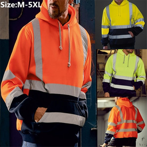 Men's Cycling Jackets Mens Road Work High Visibility Pullover Long Sleeve Hooded Sweatshirt Tops Blouse Sport Run Jacket