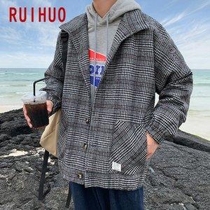 RUIHUO Шерстяной плед куртка Мужчины Пальто Одежда Streetwear Bomber Jacket Men Hip Hop Зимнее пальто 5XL 2019 осень Новый