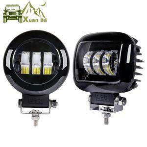 عدسة XuanBa 6D 5 بوصة دائرية / مربعة Led Work Light 12V 24V للسيارات 4WD ATV سيارات الدفع الرباعي UTV الشاحنات 4x4 Offroad الدراجات البخارية السيارات مصابيح العمل X2
