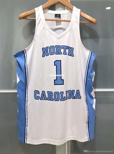 스티치 농구 유니폼 NCAA 조끼 저렴한 도매 NK UNC 노스 캐롤라이나 타르 힐 # 1 NCAA MENS 농구 저지 WHITE T 셔츠