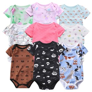 Fabrika Toptan Carter Short Sleeve Üçgen Ha Pamuk Jumpsuit Short Sleeve Çanta Fart Romper Bahar ve Yaz Bebek Çocuk Giyim