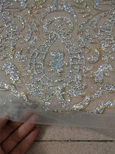 Gut aussehender silberner Glittergoldrand afrikanischer geklebter Glitzerspitze JRB-12281 Stickerei Tüll Mesh Spitze Stoff für sexy Kleid