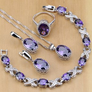 Natural 925 Silver Jewelry Purple Cubic Zirconia White Crystal Jewelry Sets For Women Earrings Pendant Necklace Rings Bracelet