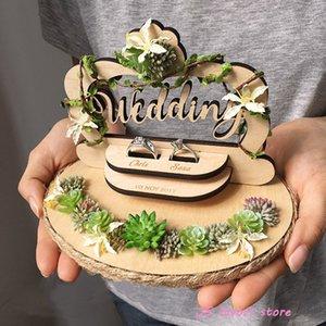gli anelli di nozze 1PCS di aggancio di anniversario di compleanno box cuscino anello di stile del fiore di legno su ordinazione rustico