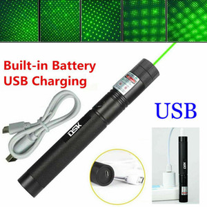 200mile USB аккумуляторная зеленая лазерная указка астрономии 532nm Grande Lazer Pen 2in1 звездная шапка луча света встроенный аккумулятор