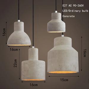 Vintage art deco cemento lámpara colgante colgante grabada 220 v E27 LED luz con interruptor de iluminación para restaurante sala de estar