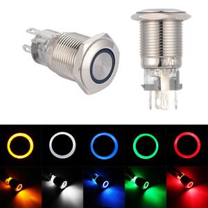 16 milímetros Empurre Waterproof Button Switch luz LED Anel Momentary Engatamento Interruptores tipo botão Vermelho Azul Verde Branco Amarelo