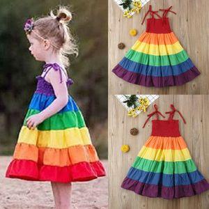 2020 Sommer neue Prinzessin-Kleid-Kind-Baby-Mädchen-Partei-Festzug Netter Sleeveless Backless Bügel Rainbow Beach Tutu-Kleid 3-7T