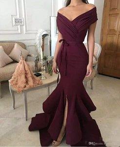 2018 Robes De Soirée Rouge Foncé New Fashion Sirène Hors Épaule Satin Longue De Formelle De Porter Porter Split Robes De Soirée Pour Les Femmes Plus La Taille
