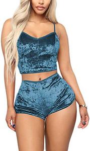Set Pijamas de mulher Femme Lingeries Moda Us Mulheres 2pcs Pijamas Sexy Spaghetti Strap veludo pijama Ladies Pijamas Pajama Party