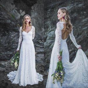 Simples de manga larga vara los vestidos de boda del cordón de Bohemia 2020 V cuello y espalda abierta atractivos una línea vestidos formales para la novia