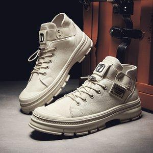 2020 Autunno Britannico-stile high-top Martin Stivali più caldo velluto scarpe di tela versione coreana del Casual Shoes Trend-Style Mens