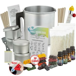Candle Making Kit, Soy Wax Flakes, Wicks, jarro, óleo de fragrância, 16 cores Corantes