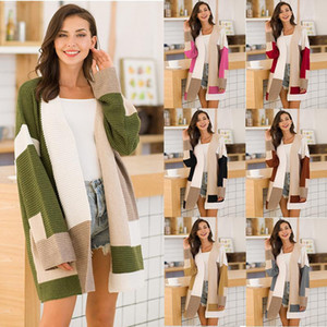 Sweater Geometric Color Matching Long Sleeve Spring Autumn Casual Sweater Ladies Fashion Clothes Womens Loose Cardigan