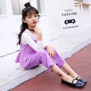 2019 새로운 봄 여자 의류 세트 소녀 세 조각 슬링 + 긴 소매 + 바지 패션 아동 의류 어린이 플레어 바지 4 색