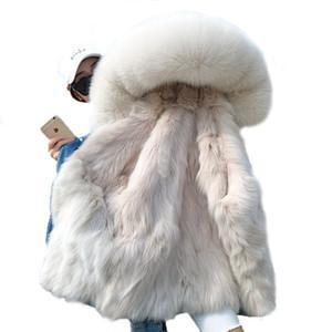 OFTBUY 2019 de la moda collar de la chaqueta de la capa del invierno de las mujeres reales de piel de mapache Parka real forro de bombardero de la piel de la chaqueta del dril de Calle ins