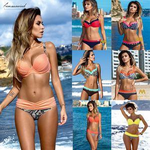 Sexy Push Up Bikinis Splicing Print Swimwear Camisole Women Summer Bathing Suit Women Halter Beach Wear Bikini Swimdress 2020 Piece Sets