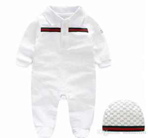 Baby boys mamelucos marca diseñador niños rayas solapa monos de manga larga infantil niñas carta bordado algodón mameluco niño ropa Y6095