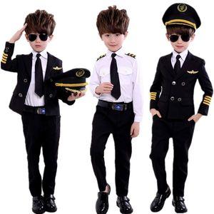 Kindertages Pilot Uniform Stewardess Cosplay Halloween Kostüme für Kinder Disguise Mädchen-Jungen-Kapitän Aircraft Fancy ClothingMX190923