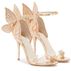 Heiße Verkauf-Art und Weise Frauen-Engels-Flügel-Sandelholze Gladiator-Knöchel-Bügel-hohe Absätze stickten Schmetterlings-Pumpen-Brauthochzeits-Schuh-Partei-Sandelholze