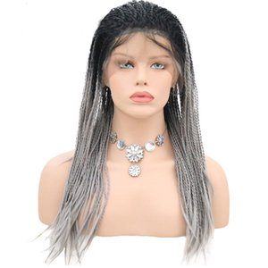 Gray Ombre Wig Cosplay Braided Synthetic Lace Front Wig Twist Crochet Double Braid Heat Resistant Fiber Hair Wig Two Tone Black Root