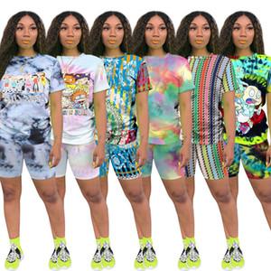 Imprimer Short Femme Two Piece Set Top et Short Set Survêtement été Streetwear Survêtement Femmes Set Casual 2 Tenues Pièces
