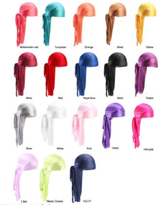 Bandana durags Uzun Kuyruk Turban Peruk İpeksi Korsan Şapka Cap Açık Bisiklet Kafatası Şapkalar Kafa Saç Aksesuarları 100 adet ücretsiz DHL Caps