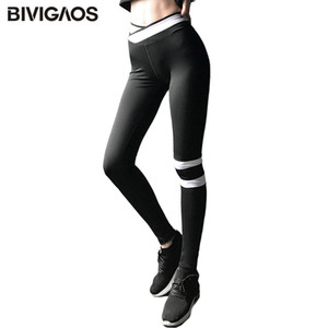 BIVIGAOS New Cross Taille Sport Gamaschen Kontrast Farbe mit hohen Taille Lauf Gamaschen-Frauen Fitness Sexy Workout Pants