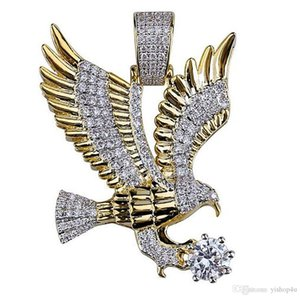 14K Iced Out Diamond Eagle Pendant Necklace Bling Micro Pave Cubic Zirconia Simulated Diamonds 24inch Rope Chain Hip Hop
