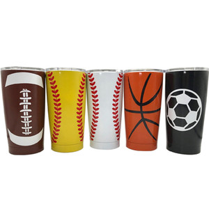 Edelstahl Baseball Tumbler Becher 600 ML Softball Basketball Fußball Metall Tasse Reise Auto Wasserflasche Vakuumisolierte Tasse TTA1530