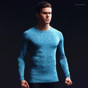 Mens Quick Drying Breathable Sports Tights Fashion Long Sleeved Running Elastic Round Neck Tshirt Mens Designer Clothing